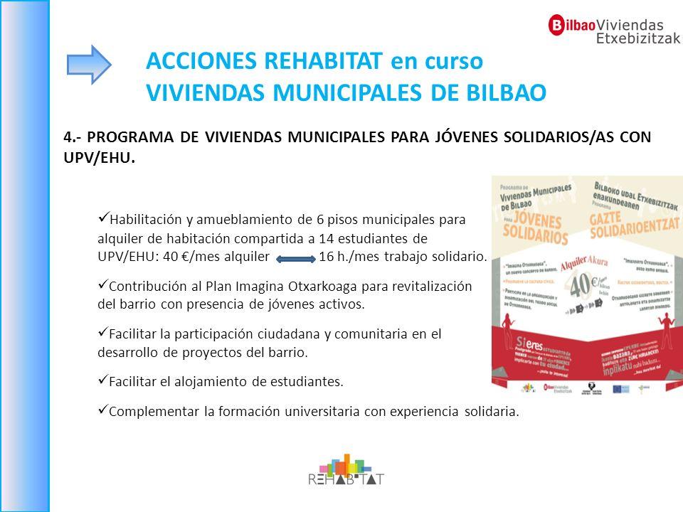 ACCIONES REHABITAT en curso VIVIENDAS MUNICIPALES DE BILBAO 4.- PROGRAMA DE VIVIENDAS MUNICIPALES PARA JÓVENES SOLIDARIOS/AS CON UPV/EHU. Habilitación