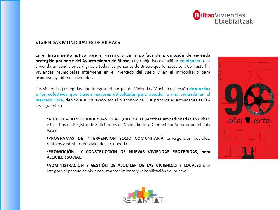 VIVIENDAS MUNICIPALES DE BILBAO: Es el Instrumento activo para el desarrollo de la política de promoción de vivienda protegida por parte del Ayuntamie