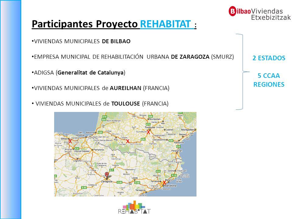Participantes Proyecto REHABITAT : VIVIENDAS MUNICIPALES DE BILBAO EMPRESA MUNICIPAL DE REHABILITACIÓN URBANA DE ZARAGOZA (SMURZ) ADIGSA (Generalitat
