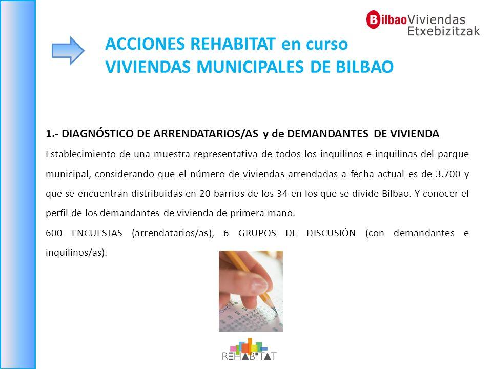 ACCIONES REHABITAT en curso VIVIENDAS MUNICIPALES DE BILBAO 1.- DIAGNÓSTICO DE ARRENDATARIOS/AS y de DEMANDANTES DE VIVIENDA Establecimiento de una mu