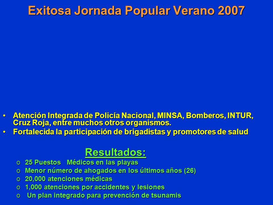 Exitosa Jornada Popular Verano 2007 Atención Integrada de Policía Nacional, MINSA, Bomberos, INTUR, Cruz Roja, entre muchos otros organismos.Atención