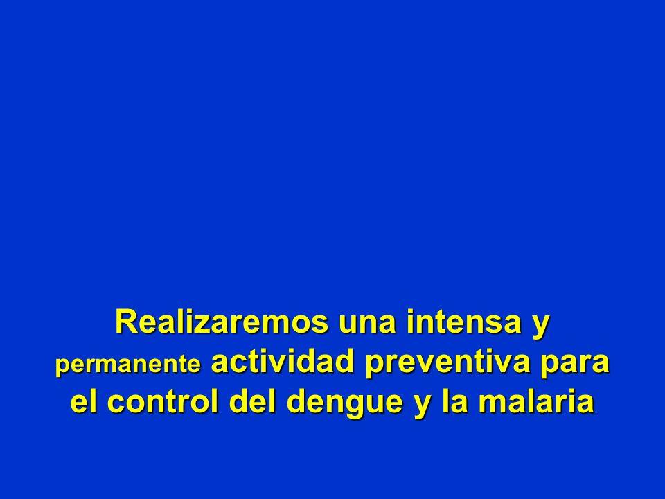 Realizaremos una intensa y permanente actividad preventiva para el control del dengue y la malaria