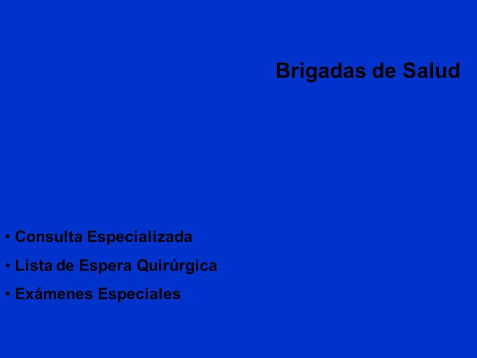Brigadas de Salud Consulta Especializada Lista de Espera Quirúrgica Exámenes Especiales