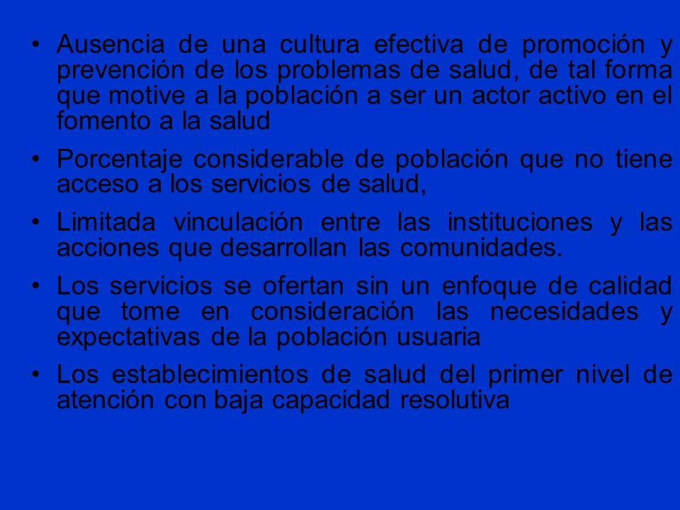 Ausencia de una cultura efectiva de promoción y prevención de los problemas de salud, de tal forma que motive a la población a ser un actor activo en