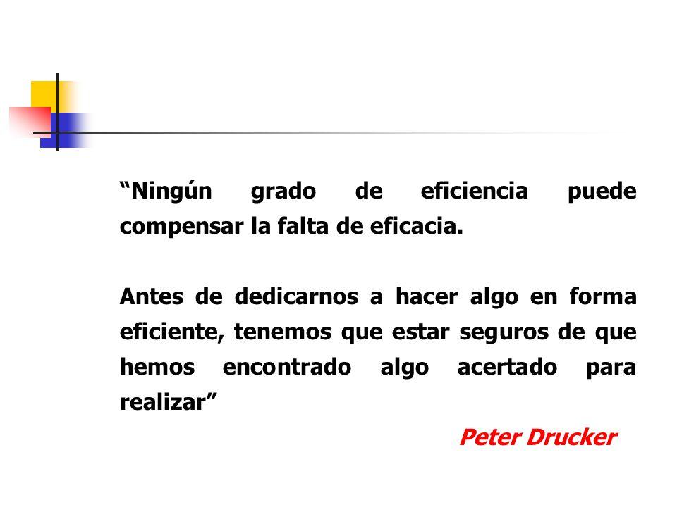 Ningún grado de eficiencia puede compensar la falta de eficacia. Antes de dedicarnos a hacer algo en forma eficiente, tenemos que estar seguros de que