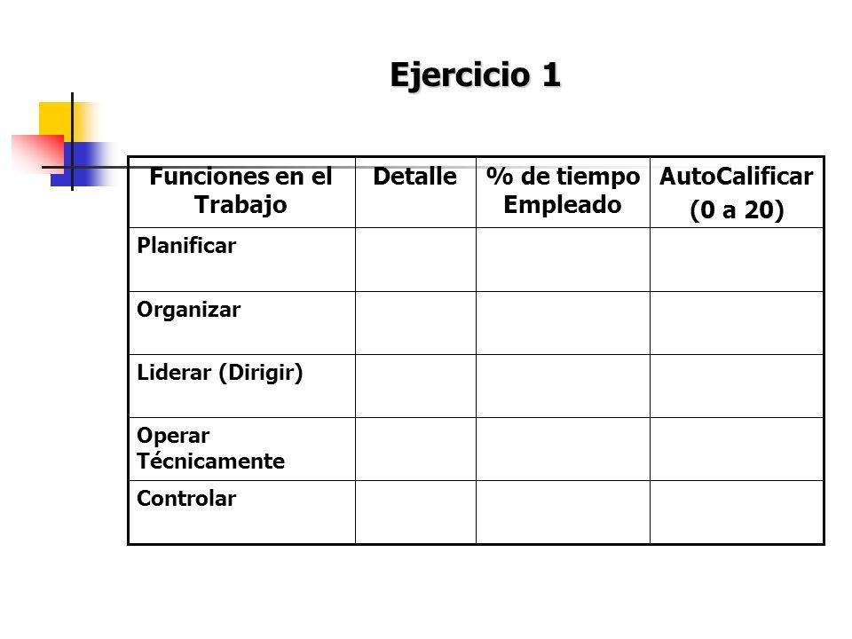 Ejercicio 1 Controlar Operar Técnicamente Liderar (Dirigir) Organizar Planificar AutoCalificar (0 a 20) % de tiempo Empleado DetalleFunciones en el Tr