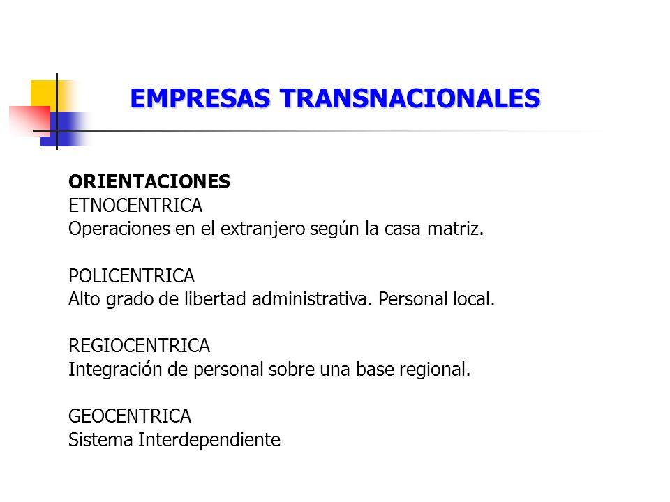 EMPRESAS TRANSNACIONALES ORIENTACIONES ETNOCENTRICA Operaciones en el extranjero según la casa matriz. POLICENTRICA Alto grado de libertad administrat