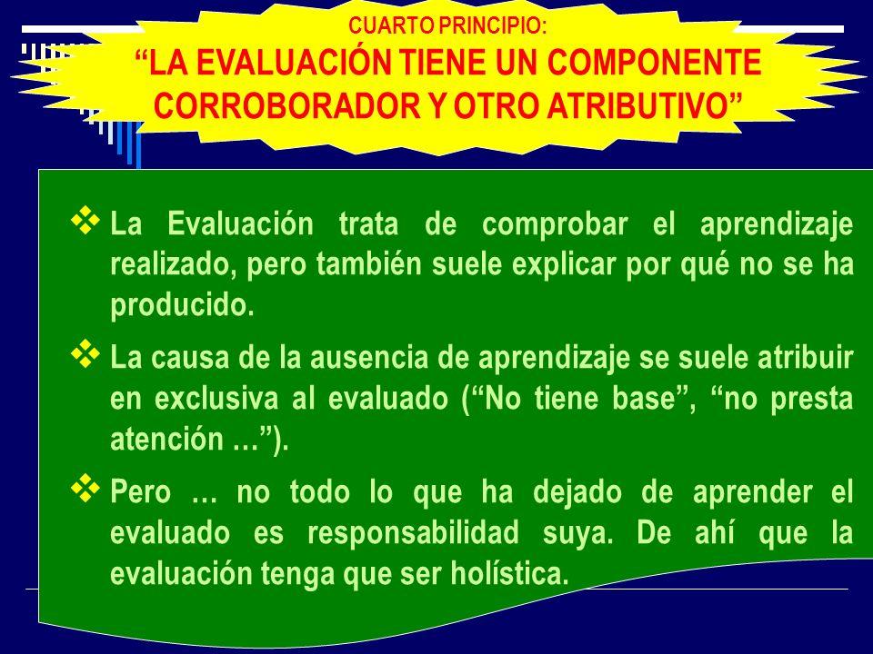 La Evaluación trata de comprobar el aprendizaje realizado, pero también suele explicar por qué no se ha producido. La causa de la ausencia de aprendiz