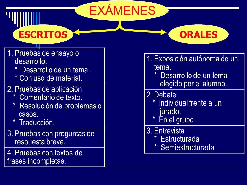 EXÁMENES 1. Pruebas de ensayo o desarrollo. * Desarrollo de un tema. * Con uso de material. 2. Pruebas de aplicación. * Comentario de texto. * Resoluc
