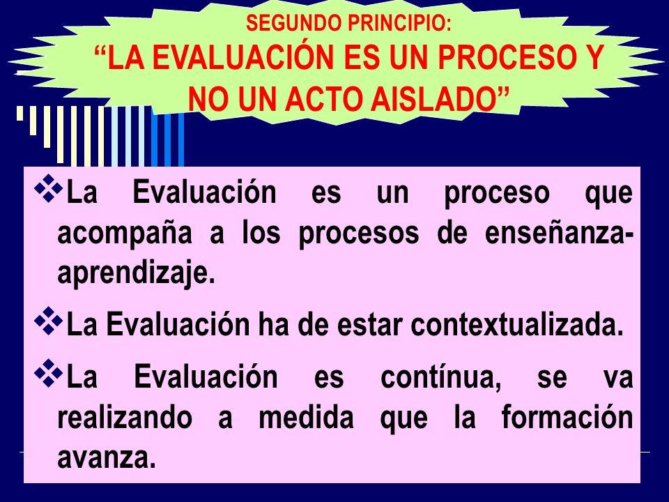 La Evaluación es un proceso que acompaña a los procesos de enseñanza- aprendizaje. La Evaluación ha de estar contextualizada. La Evaluación es contínu