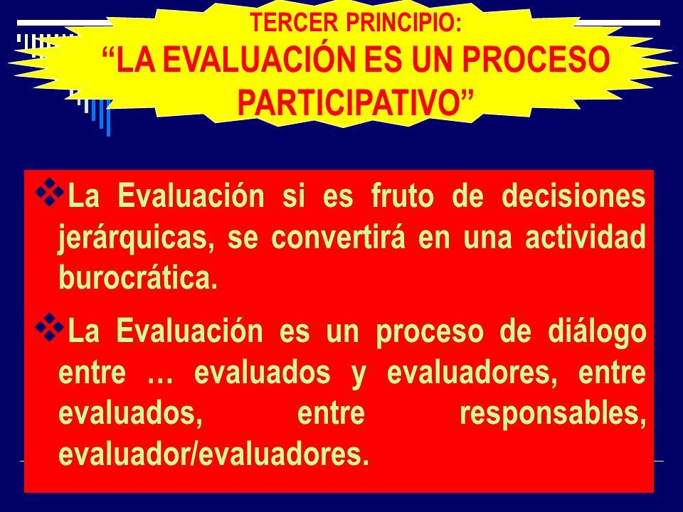 La Evaluación si es fruto de decisiones jerárquicas, se convertirá en una actividad burocrática. La Evaluación es un proceso de diálogo entre … evalua
