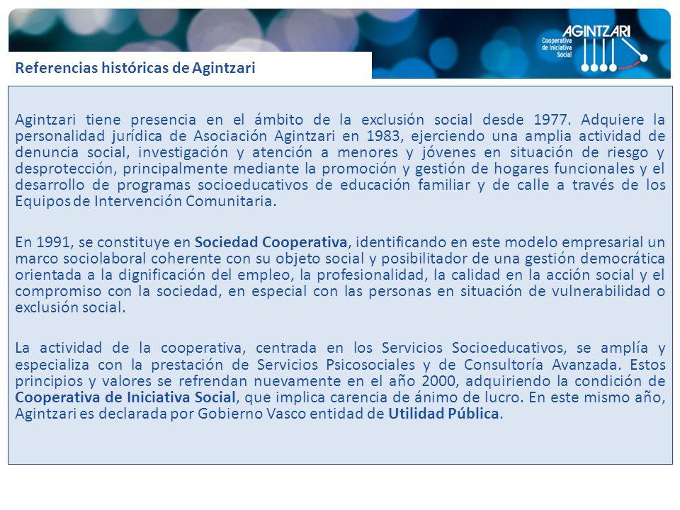 Agintzari tiene presencia en el ámbito de la exclusión social desde 1977. Adquiere la personalidad jurídica de Asociación Agintzari en 1983, ejerciend