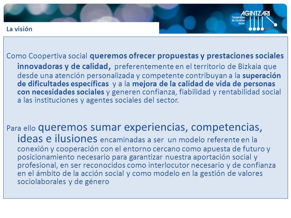 Como Coopertiva social queremos ofrecer propuestas y prestaciones sociales innovadoras y de calidad, preferentemente en el territorio de Bizkaia que d