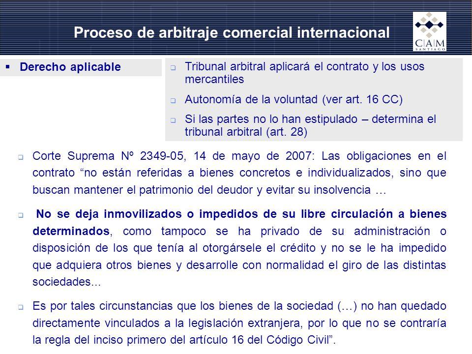 Proceso de arbitraje comercial internacional Derecho aplicable Tribunal arbitral aplicará el contrato y los usos mercantiles Autonomía de la voluntad (ver art.