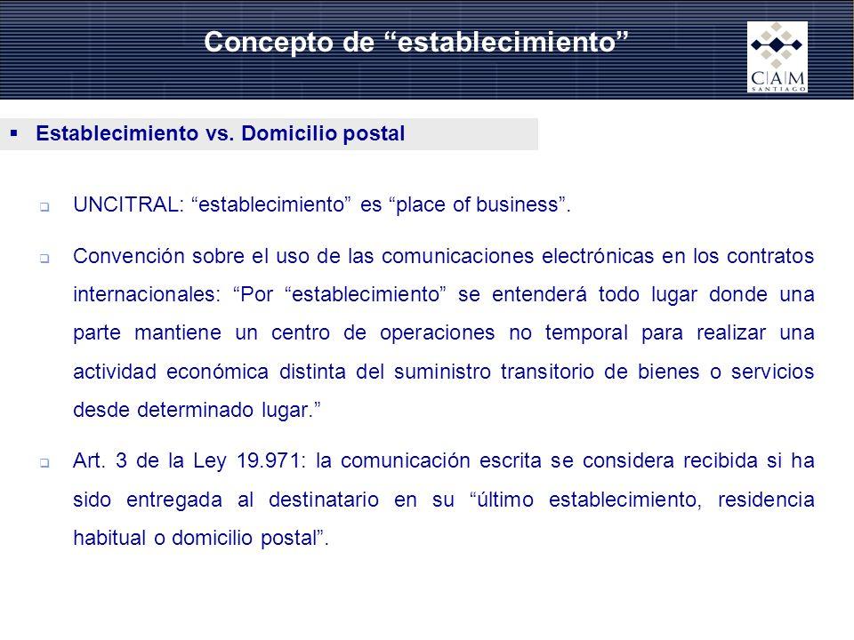 Establecimiento vs. Domicilio postal UNCITRAL: establecimiento es place of business. Convención sobre el uso de las comunicaciones electrónicas en los