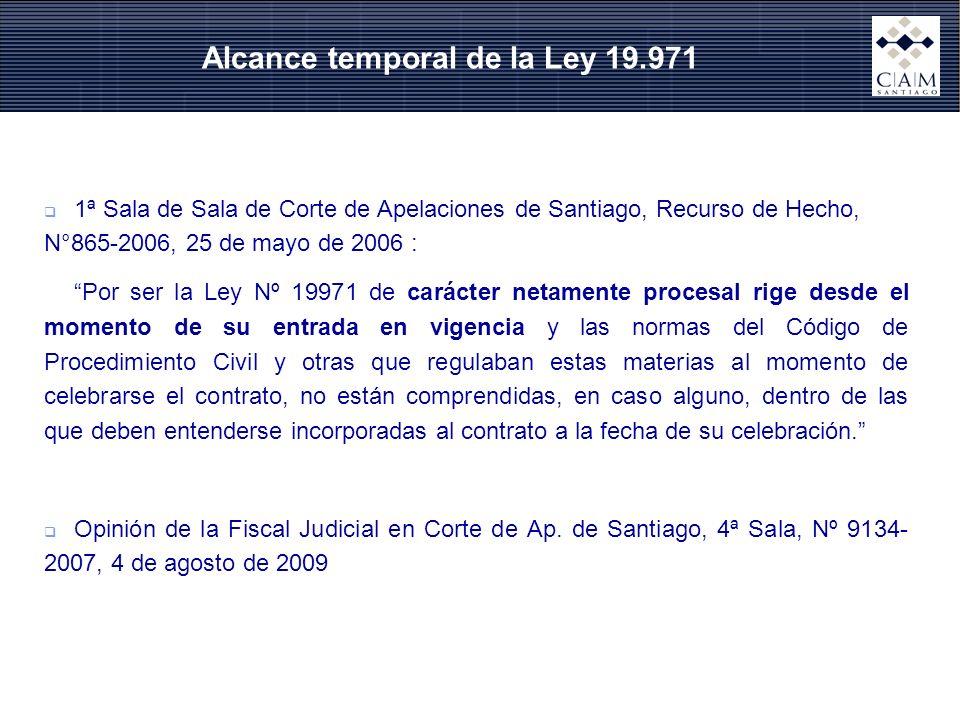 1ª Sala de Sala de Corte de Apelaciones de Santiago, Recurso de Hecho, N°865-2006, 25 de mayo de 2006 : Por ser la Ley Nº 19971 de carácter netamente