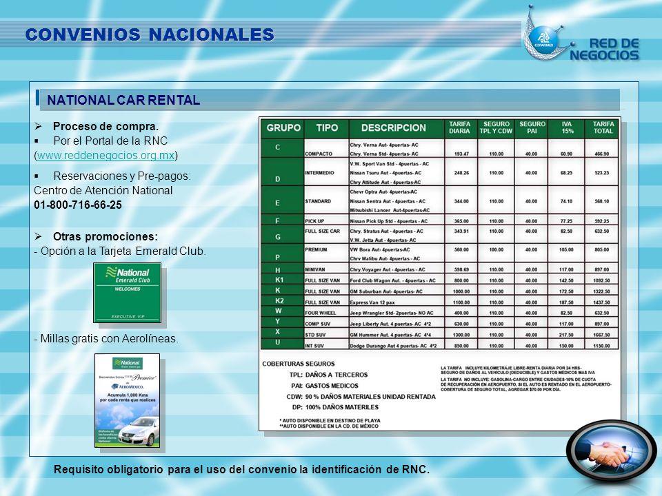 CONVENIOS NACIONALES Proceso de compra. Por el Portal de la RNC (www.reddenegocios.org.mx)www.reddenegocios.org.mx Reservaciones y Pre-pagos: Centro d