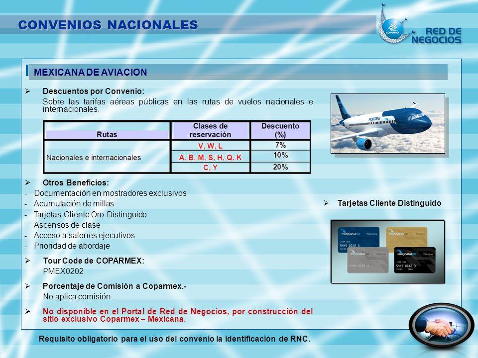Descuentos por Convenio: Sobre las tarifas aéreas públicas en las rutas de vuelos nacionales e internacionales. Otros Beneficios: - -Documentación en