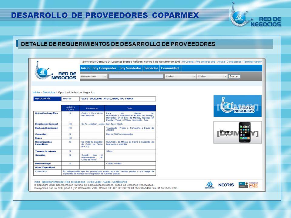 DETALLE DE REQUERIMIENTOS DE DESARROLLO DE PROVEEDORES DESARROLLO DE PROVEEDORES COPARMEX