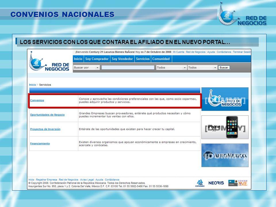 SECCION DE CONVENIOS DENTRO DEL PORTAL DE RNC. CONVENIOS NACIONALES