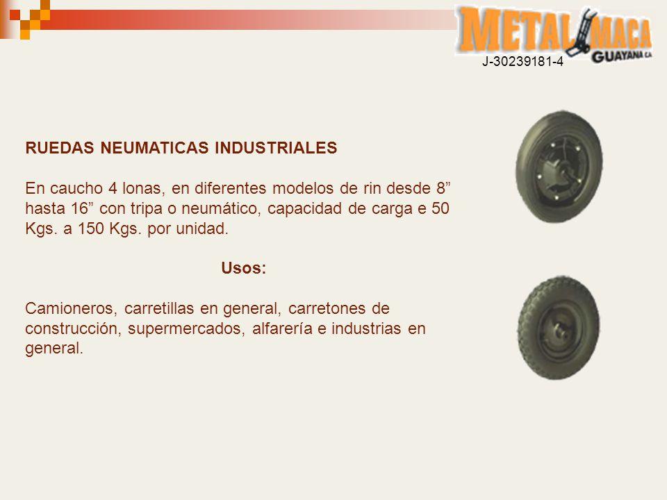 RUEDAS NEUMATICAS INDUSTRIALES En caucho 4 lonas, en diferentes modelos de rin desde 8 hasta 16 con tripa o neumático, capacidad de carga e 50 Kgs. a