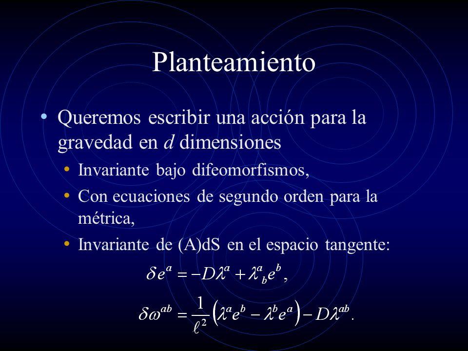 Planteamiento Queremos escribir una acción para la gravedad en d dimensiones Invariante bajo difeomorfismos, Con ecuaciones de segundo orden para la m