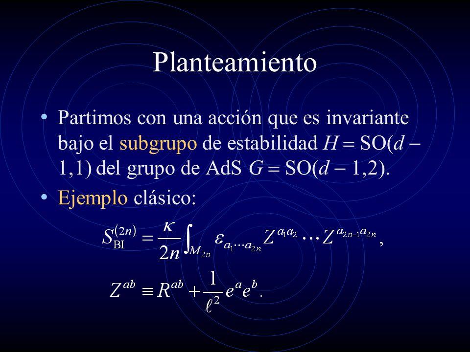 Planteamiento Partimos con una acción que es invariante bajo el subgrupo de estabilidad H SO d del grupo de AdS G SO d. Ejemplo clásico: