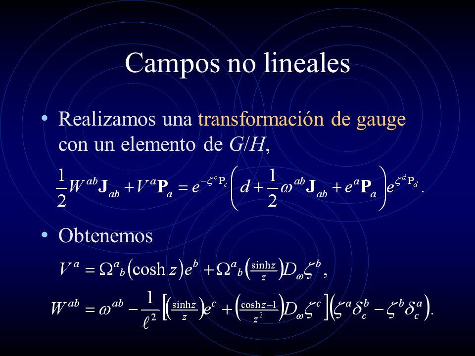 Campos no lineales Realizamos una transformación de gauge con un elemento de G/H, Obtenemos