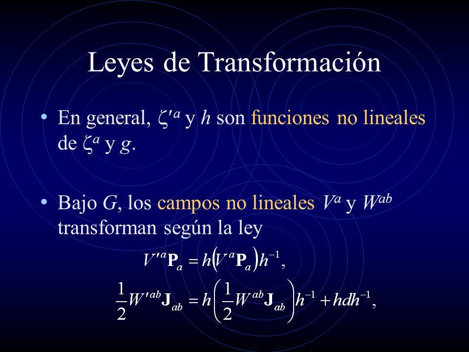 Leyes de Transformación En general, a y h son funciones no lineales de a y g. Bajo G, los campos no lineales V a y W ab transforman según la ley