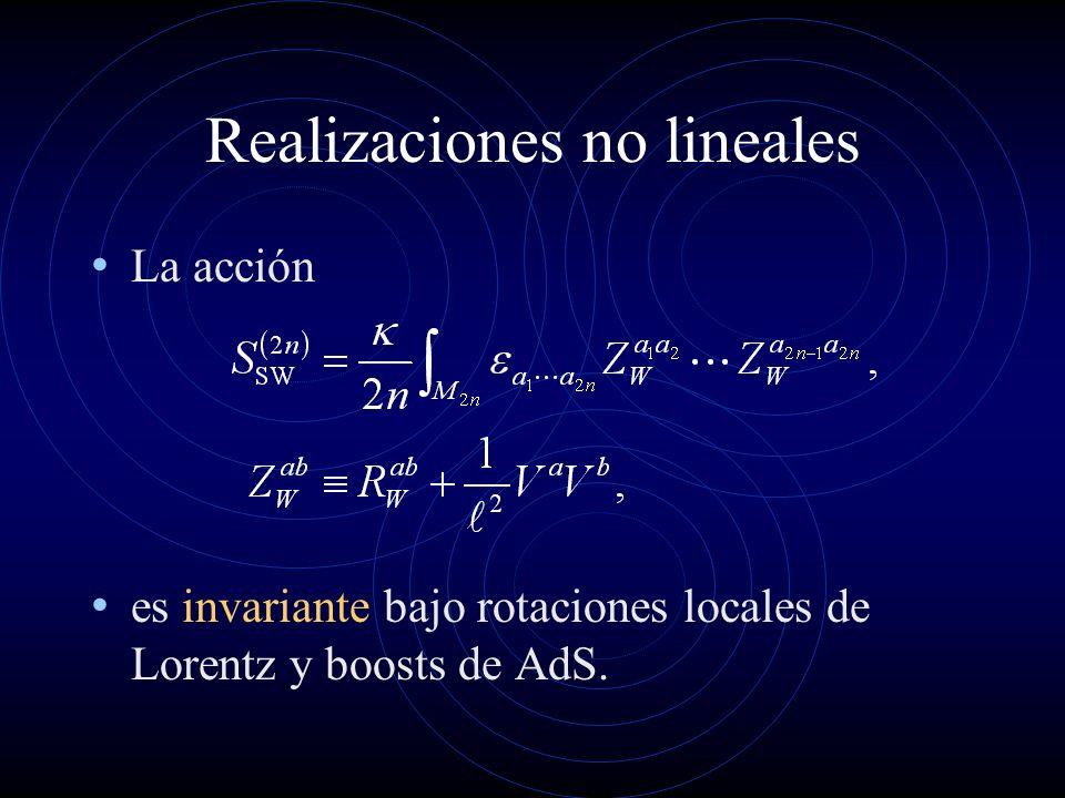 Realizaciones no lineales La acción es invariante bajo rotaciones locales de Lorentz y boosts de AdS.