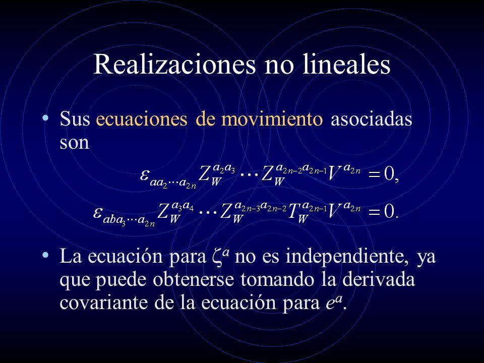Realizaciones no lineales Sus ecuaciones de movimiento asociadas son La ecuación para a no es independiente, ya que puede obtenerse tomando la derivad