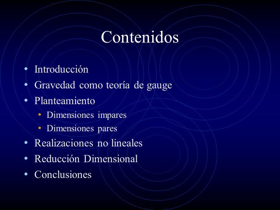 Contenidos Introducción Gravedad como teoría de gauge Planteamiento Dimensiones impares Dimensiones pares Realizaciones no lineales Reducción Dimensio