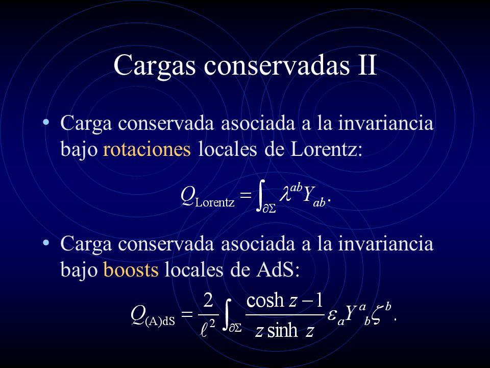 Cargas conservadas II Carga conservada asociada a la invariancia bajo rotaciones locales de Lorentz: Carga conservada asociada a la invariancia bajo b