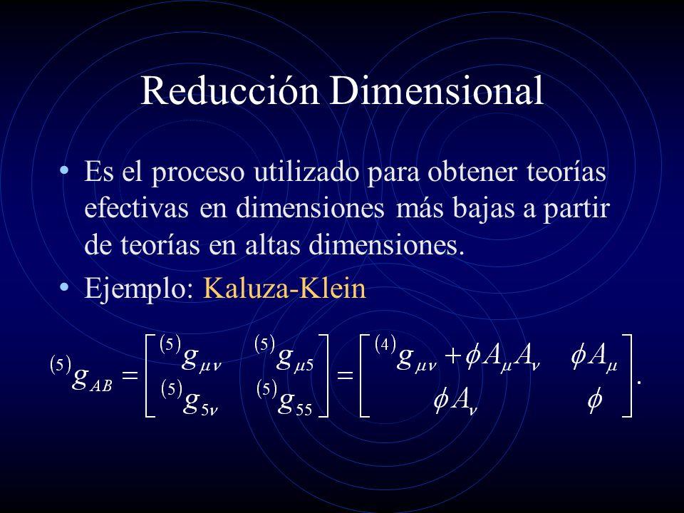 Reducción Dimensional Es el proceso utilizado para obtener teorías efectivas en dimensiones más bajas a partir de teorías en altas dimensiones. Ejempl