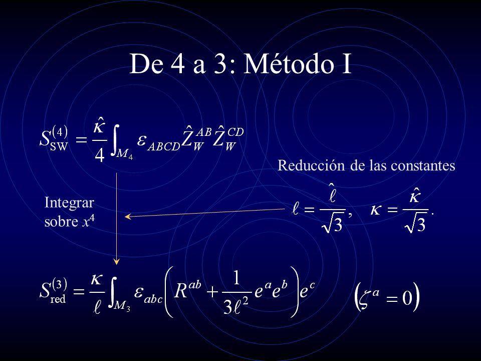 De 4 a 3: Método I Integrar sobre x 4 Reducción de las constantes