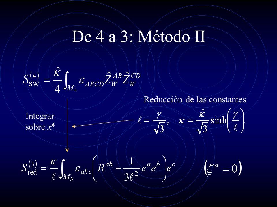 De 4 a 3: Método II Integrar sobre x 4 Reducción de las constantes