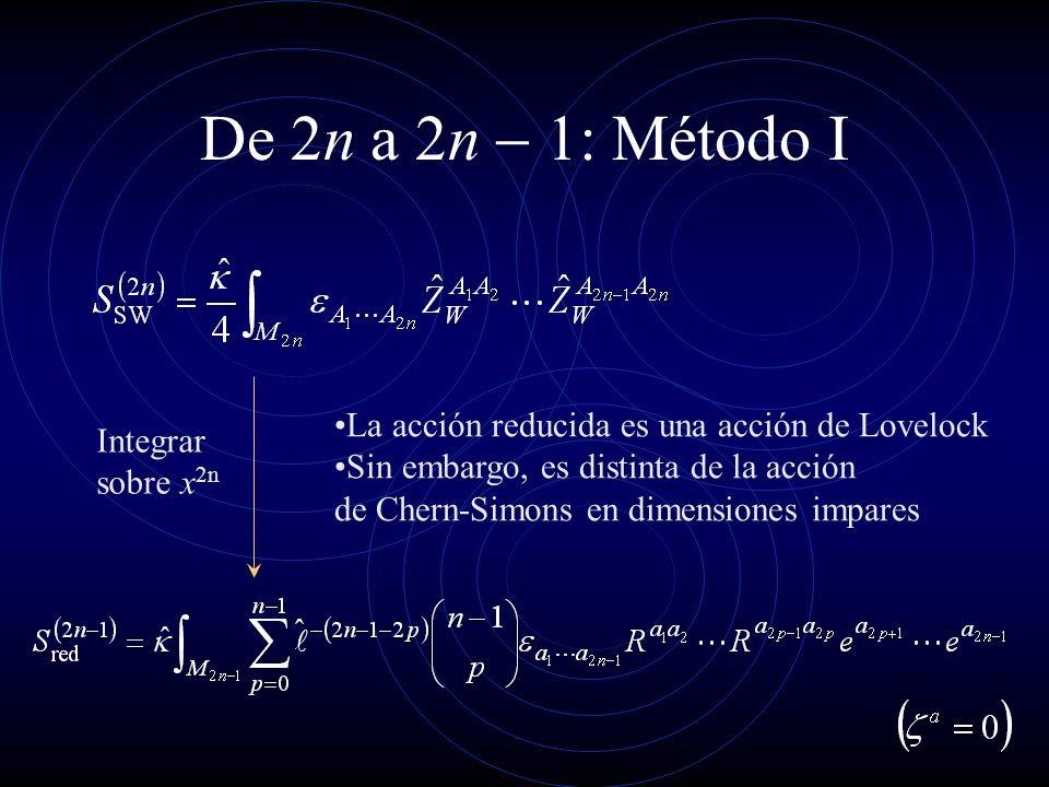 De 2n a n : Método I Integrar sobre x 2n La acción reducida es una acción de Lovelock Sin embargo, es distinta de la acción de Chern-Simons en dimensi
