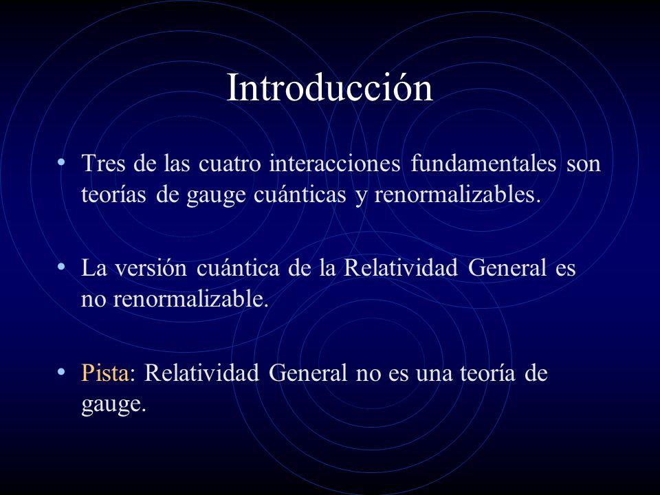 Introducción Tres de las cuatro interacciones fundamentales son teorías de gauge cuánticas y renormalizables. La versión cuántica de la Relatividad Ge