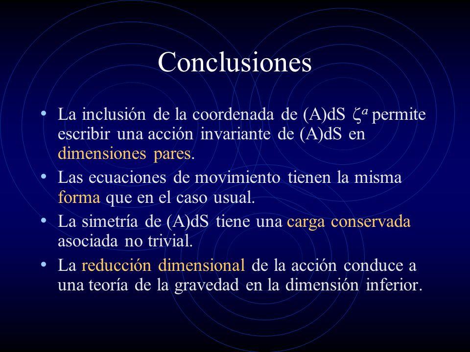 Conclusiones La inclusión de la coordenada de (A)dS a permite escribir una acción invariante de (A)dS en dimensiones pares. Las ecuaciones de movimien