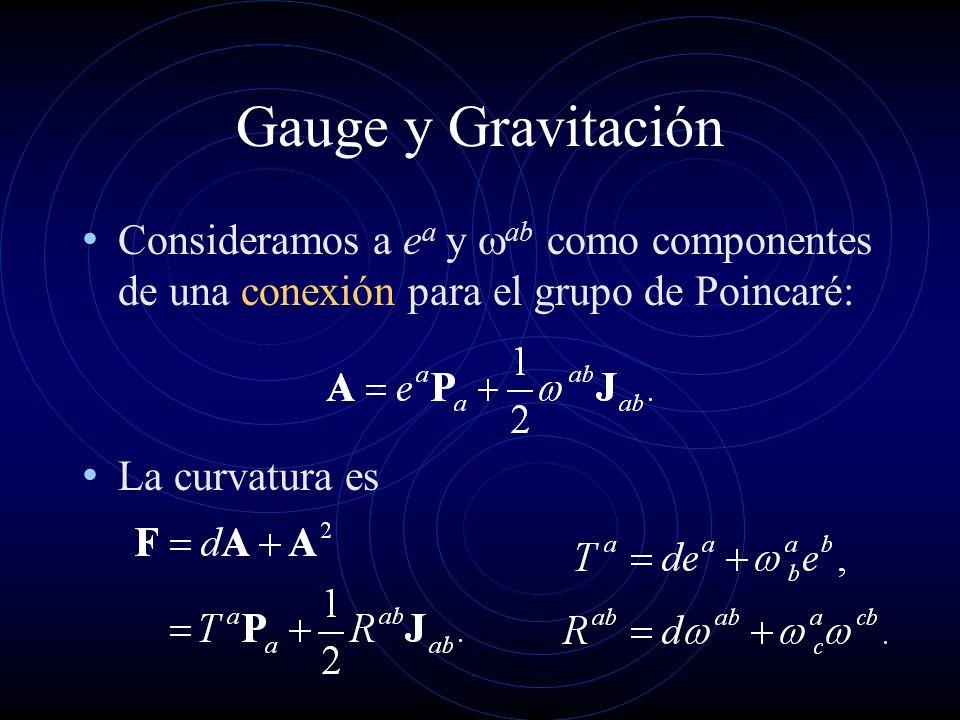 Gauge y Gravitación Consideramos a e a y ab como componentes de una conexión para el grupo de Poincaré: La curvatura es