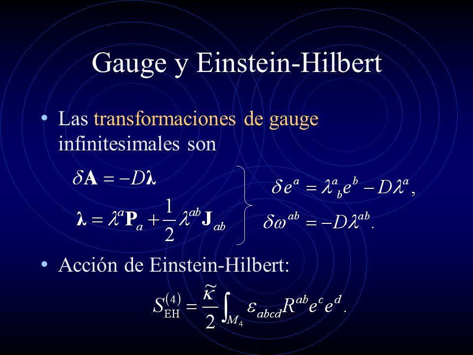 Einstein-Hilbert La acción de Einstein-Hilbert no es invariante bajo traslaciones: Gravedad en cuatro dimensiones no es una teoría de gauge.
