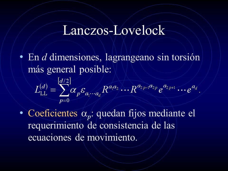 Lanczos-Lovelock En d dimensiones, lagrangeano sin torsión más general posible: Coeficientes p : quedan fijos mediante el requerimiento de consistenci