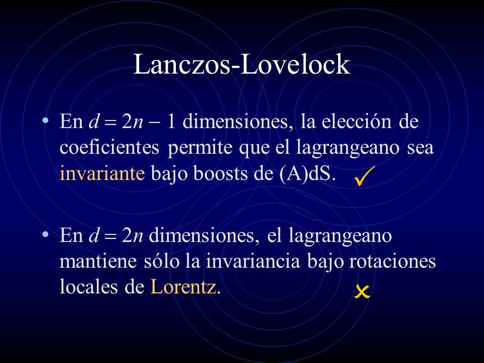 Lanczos-Lovelock En d n dimensiones, la elección de coeficientes permite que el lagrangeano sea invariante bajo boosts de (A)dS. En d n dimensiones, e