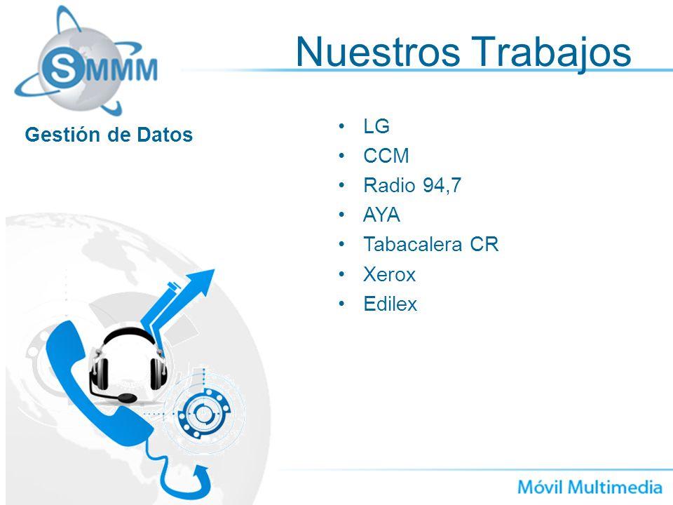 Nuestros Trabajos LG CCM Radio 94,7 AYA Tabacalera CR Xerox Edilex Gestión de Datos