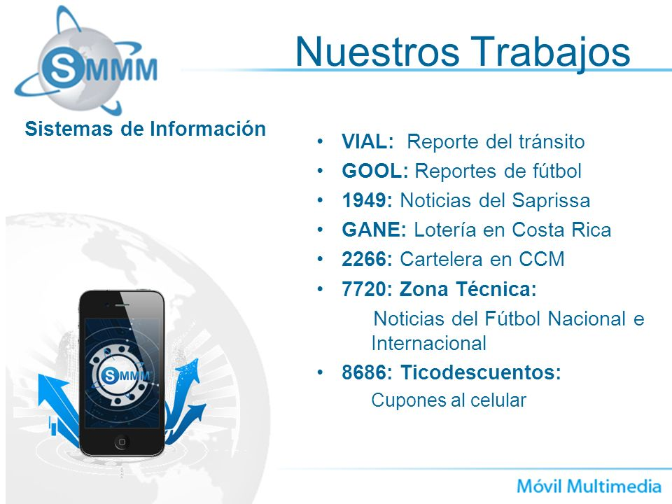 VIAL: Reporte del tránsito GOOL: Reportes de fútbol 1949: Noticias del Saprissa GANE: Lotería en Costa Rica 2266: Cartelera en CCM 7720: Zona Técnica: