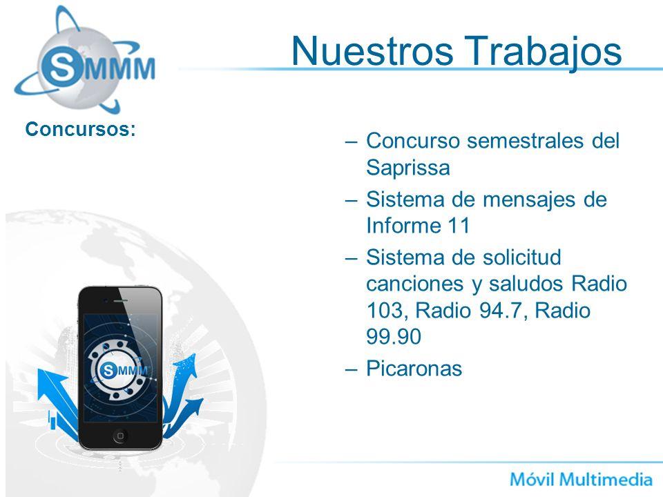 –Concurso semestrales del Saprissa –Sistema de mensajes de Informe 11 –Sistema de solicitud canciones y saludos Radio 103, Radio 94.7, Radio 99.90 –Pi