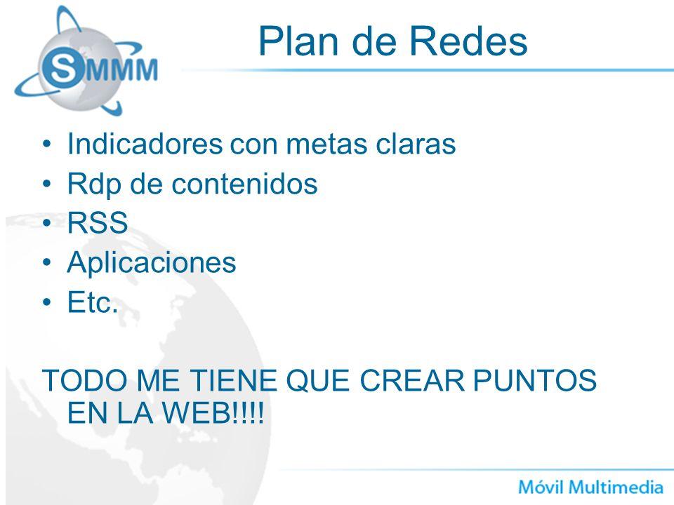 Plan de Redes Indicadores con metas claras Rdp de contenidos RSS Aplicaciones Etc. TODO ME TIENE QUE CREAR PUNTOS EN LA WEB!!!!