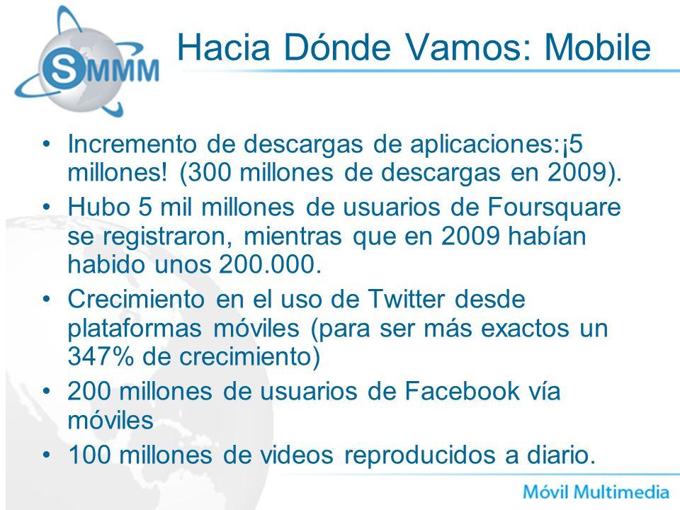 Hacia Dónde Vamos: Mobile Incremento de descargas de aplicaciones:¡5 millones! (300 millones de descargas en 2009). Hubo 5 mil millones de usuarios de