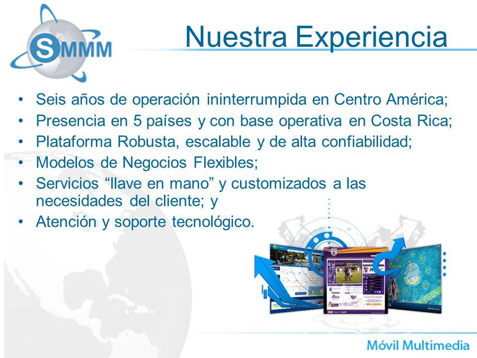 Nuestra Experiencia Seis años de operación ininterrumpida en Centro América; Presencia en 5 países y con base operativa en Costa Rica; Plataforma Robu