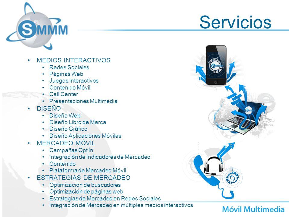 Servicios MEDIOS INTERACTIVOS Redes Sociales Páginas Web Juegos Interactivos Contenido Móvil Call Center Presentaciones Multimedia DISEÑO Diseño Web D